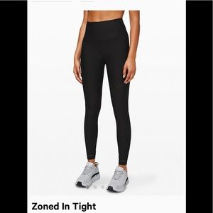 """NWT $148 LULULEMON Zoned In Tight, 27"""", black, 4"""